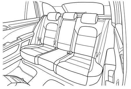 Die Maschine im Inneren. Der Innenraum des Fahrzeugs, Rücksitz. Vektor-Illustration der Linien. Vektorgrafik