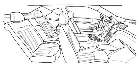 De automaat binnen. Het interieur van het voertuig, achterbank. Vectorillustratie van de lijnen.