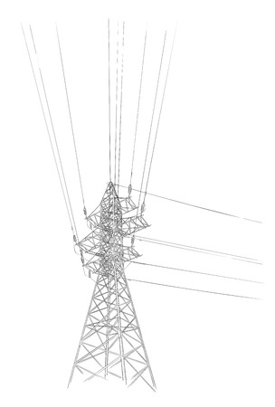 Croquis dessiné main de tour électrique Vecteurs