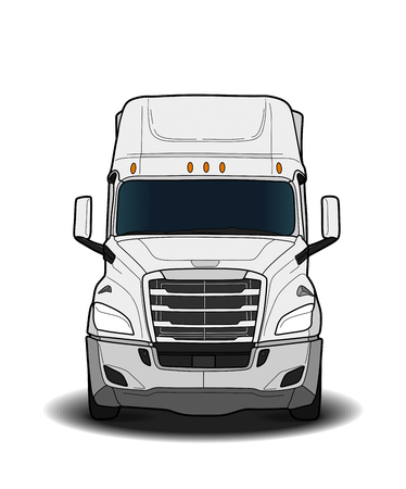 American trailer truck isolated on white background. black and white illustration