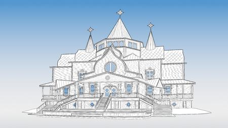 Terem Deda Moroza in Velikiy Ustyug Russia Illustration