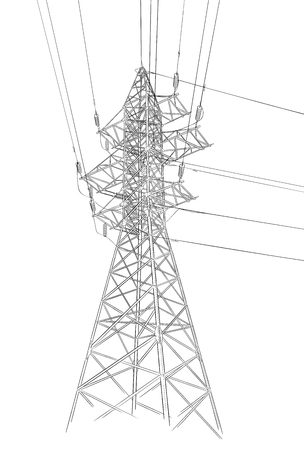 Hand drawn sketch of electric tower