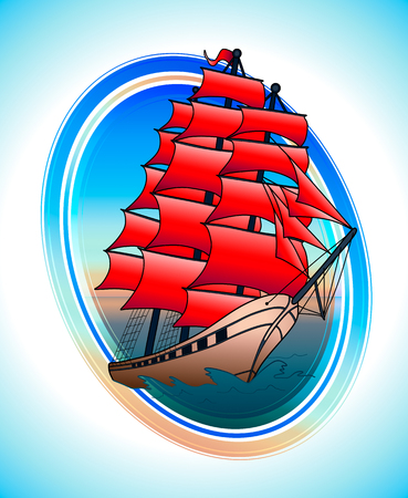 Scarlet sails ship in a circle. Vector draw