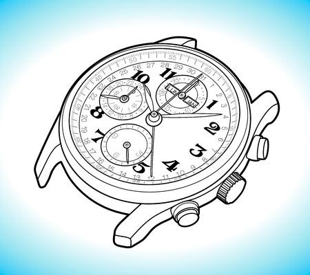 Vector Sketch Retro Wrist Watch Illustration