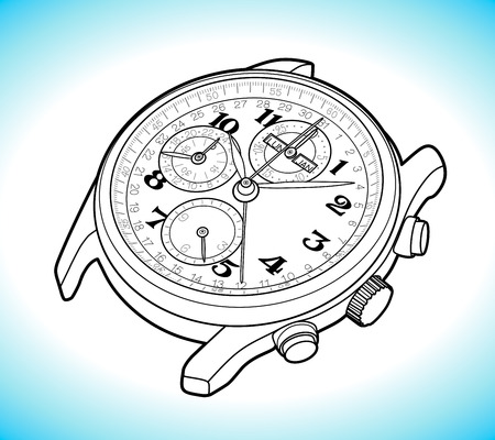 Vector Sketch Retro Wrist Watch Vectores