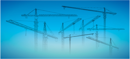 Tower construction crane. Detailed vector illustration isolated on white background.