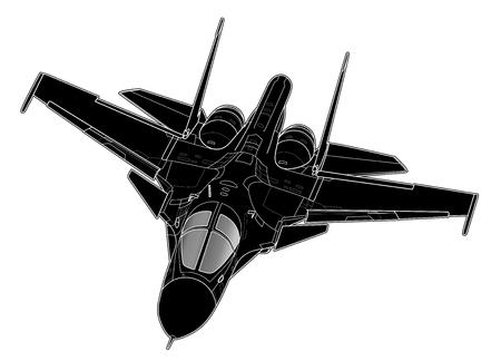 Dessin vectoriel d'avions bombardiers à réaction russes modernes.