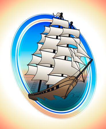 Sailing ship with scarlet sails in a circle. Vector illustration