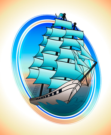 Sailing ship with blue sails in a circle. Vector illustration Illustration
