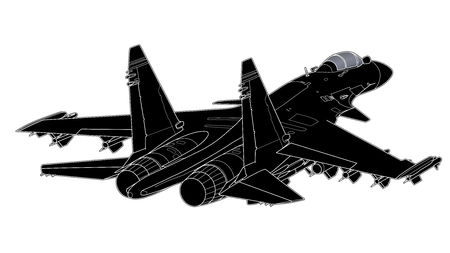 Vector draw of modern Russian jet fighter. Иллюстрация