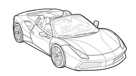 Dessin vectoriel détaillé d'une voiture de sport plate avec option de trait noir pour une couleur personnalisée pour les enfants.