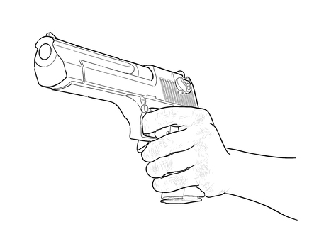 Gun in hand - hand drawn vector, isolated on white