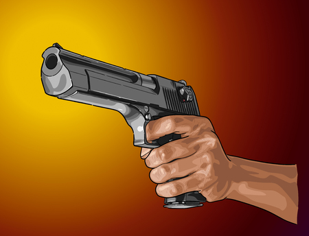 Gun in hand - hand drawn vector, isolated on color Illustration