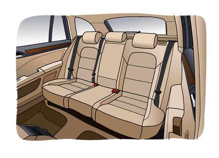 De automaat binnen. Het interieur van het voertuig, achterbank. Vectorillustratie van de lijnen. Vector Illustratie