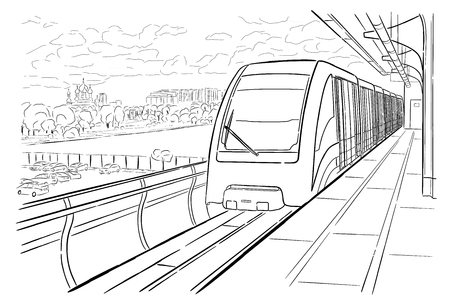 Hand drawn ink line sketch Moscow monorail light metro station, train in outline style perspective view. Ilustração
