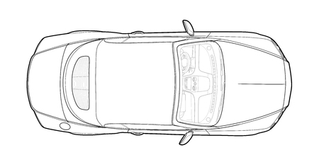 Car from top view vector. Flat design auto.