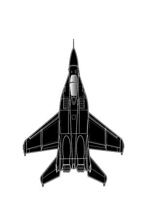 Modern Russian jet fighter aircraft. Vector draw
