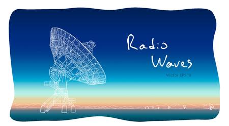 Radio telescope dishes antenna. Vector illustration