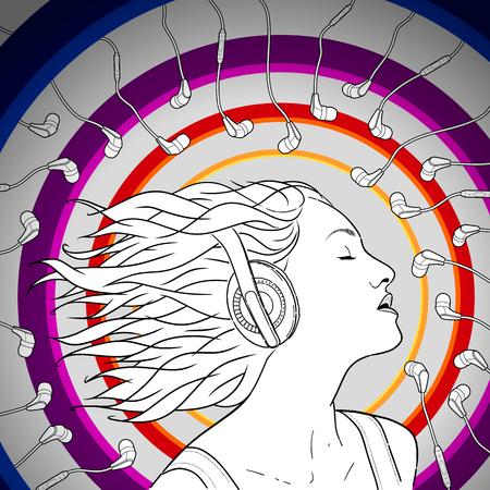 Portrait of a girl wearing headphones. Vector illustration. Hand drawn sketch.