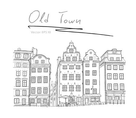 Sweden Stockholm Trade Square graphics sketch vector