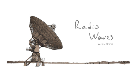 Antenna parabolica del radiotelescopio. Illustrazione vettoriale Vettoriali
