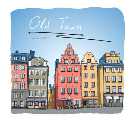 Schweden Stockholm Trade Square Grafiken Skizze Vektor
