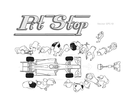 Formula race car in pit stop vector hand drawn sketch illustration
