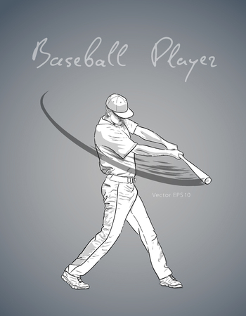Illustration of a baseball player with bat hitting the ball. Vector hand drawn illustration