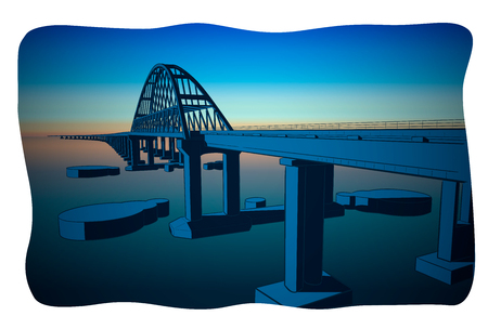 Hand drawn sketch vector illustration of Crimean bridge arks and road in the night Иллюстрация