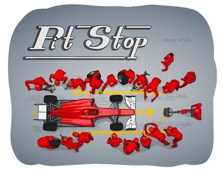 Voiture de course de formule en illustration de croquis dessinés à la main de vecteur d'arrêt au stand