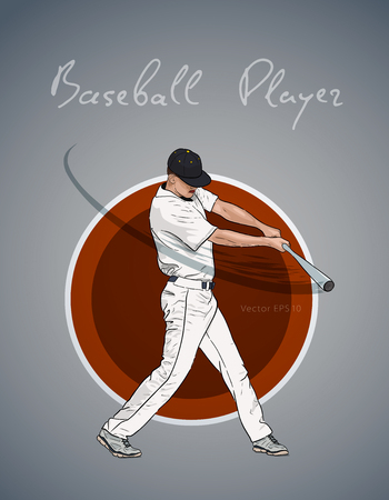 Illustration of a baseball player with bat hitting the ball. Vector hand drawn illustration 스톡 콘텐츠 - 123853743