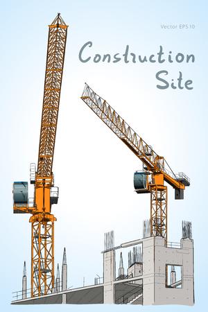 Sketch. Construction site. City. Vector hand draw Ilustração
