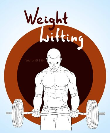 Weight Lifter man with relief muscles lifting heavy weight. Illusztráció