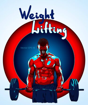 Weight Lifter man lifting heavy weight for Sports. Illusztráció
