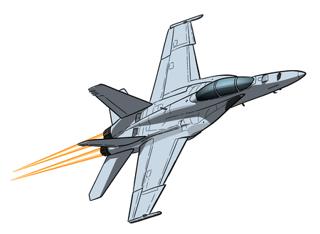 American jet fighter aircraft. Vector freehand draw Vetores