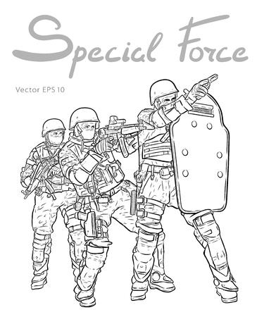 Opération antiterroriste des forces de police. Croquis de vecteur Vecteurs