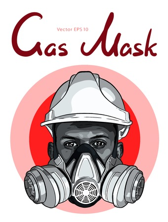 Human face with gas mask and hard hat vector sketch Ilustrace