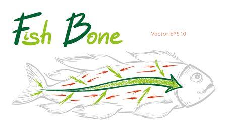 Ishikawa fishbone diagram detailed vector sketch illustration Vektorové ilustrace