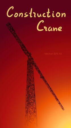 Tower construction crane. Hand drawn vector illustration isolated on sunset background. Ilustrace