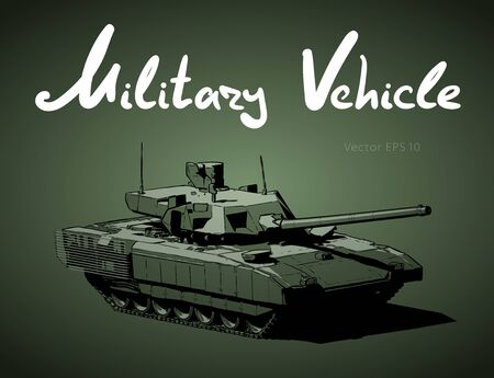 Modern russian battle tank. Military machine. Vector illustration