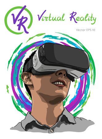 Man wearing virtual reality headset. Hand drawn vector illustration, sketch Vektorgrafik
