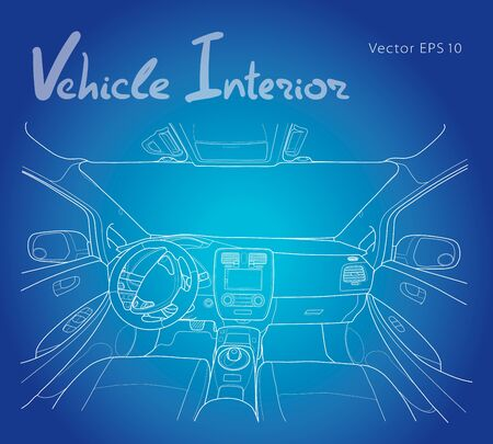 Interior of electromobile with automatic gearbox vector illustration Illustration