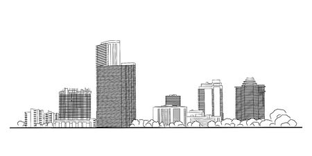Modern city panorama isolated skyline vector draw illustration