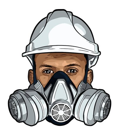 Human face with gas mask and hard hat vector sketch Illustration