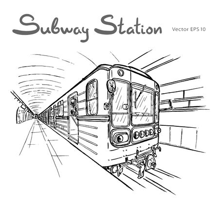 Hand drawn sketch of subway station illustration