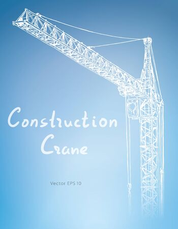 Tower construction crane. Hand drawn vector illustration isolated on sky background.