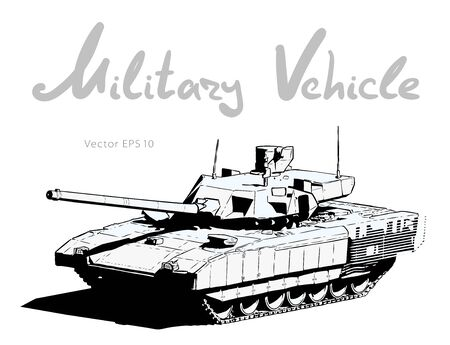 Modern russian battle tank. Military machine. Vector illustration