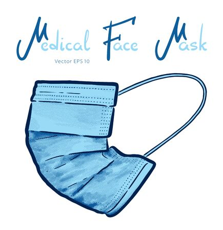 Medical face mask hand drawn vector illustration isolated on background.