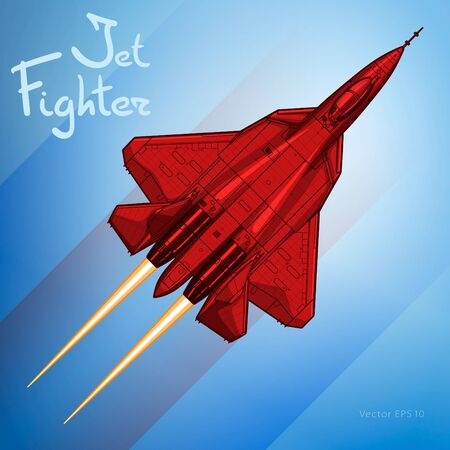 The Newest Russian jet fighter aircraft. Vector draw Illustration