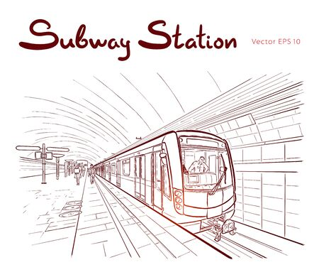 Hand drawn ink line sketch subway station, train in outline style perspective view. Illustration